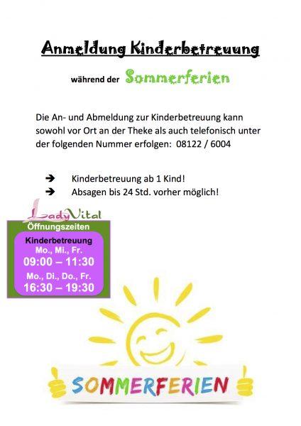 Kinderbetreuung Anmeldung Sommerferien