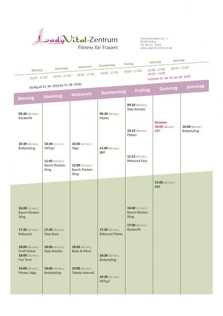 Sommer-Kursplan 2018 – Ab 1.4.
